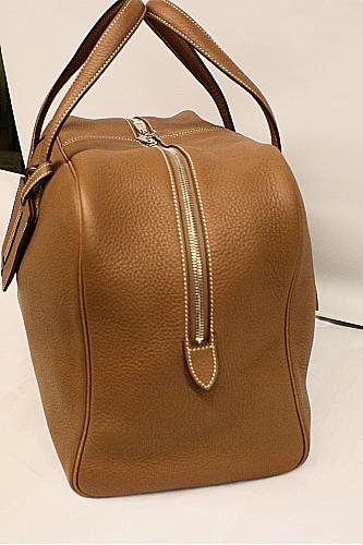 Hermes Paris 45cm Victoria II \u0026quot;Gold\u0026quot; Cognac Clemence Leather ...
